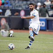 NEW YORK, NEW YORK - March 18:  Victor Cabrera #36 of Montreal Impact in action during the New York City FC Vs Montreal Impact regular season MLS game at Yankee Stadium on March 18, 2017 in New York City. (Photo by Tim Clayton/Corbis via Getty Images)
