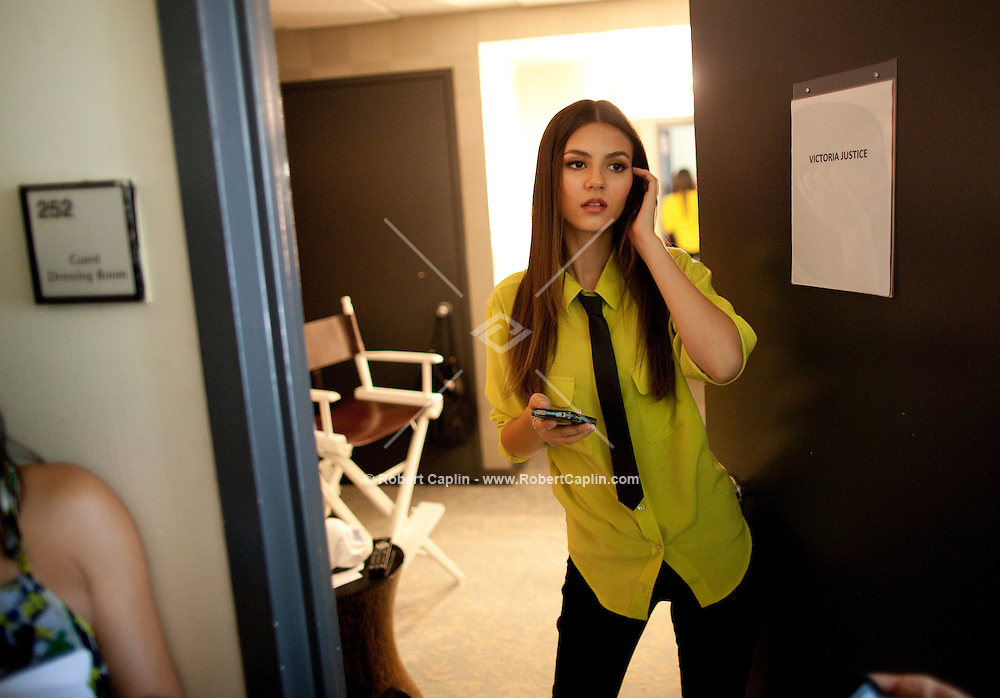 Actress and singer Victoria Justice at the studios of The View in New York after performing on the show during Fall Fashion week 2011. ..Photo by Robert Caplin.
