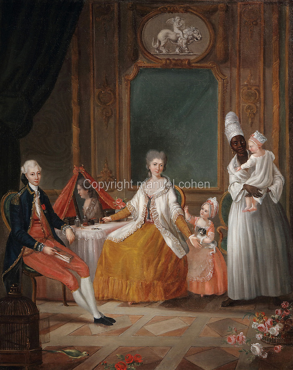 Rich family from Bordeaux with a black servant, painting, 18th century, in the Musee d'Aquitaine, Cours Pasteur, Bordeaux, Aquitaine, France. Bordeaux was an important slave trading city, many African slaves passed through Bordeaux and its white inhabitants also settled the West Indies as plantation owners. Picture by Manuel Cohen