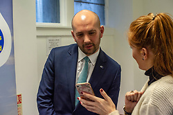 Pictured: Ben Macpherson<br /> Migration Minister Ben Macpherson visited the Citizens Advice Centre in Leith today to  reveal details of the service introduced as a result of Brexit. Mr Macpherson met Citizens Advice Scotland's CEO Derek Mitchell during his visit.<br /> <br /> Ger Harley| EEm 18 December 2018