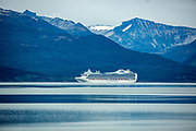 Crown Princess is a Crown-class cruise ship owned and operated by Princess Cruises. Photographed in the bay of Ushuaia, Argentina