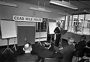 03/07/1963<br /> 07/03/1963<br /> 03 July 1963<br /> American executives of N.C.R. visit Dublin. Two top executives of the Dayton, Ohio, headquarters of the National Cash Register Company, one of the world's foremost manufacturers of cash registers, accounting machines and electronic computers, visiting Dublin. Picture shows Mr S.J. Conway, Managing Director, N.C.R. (Great Britain and Republic of Ireland), speaking at the Kilmainham offices.