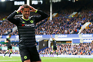 Eden Hazard of Chelsea reacts to missing a chance to score. Premier league match, Everton v Chelsea at Goodison Park in Liverpool, Merseyside on Sunday 30th April 2017.<br /> pic by Chris Stading, Andrew Orchard sports photography.