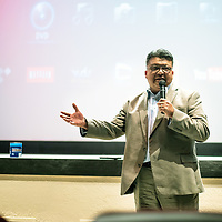 Navajo Nation Council Delegate Edmund Yazzie speaks at the Nuclear Nation Film Festival on Earth Day at the El Morro Theatre in Gallup.