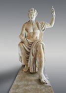 Roman colossal seated staue of Augustus Caesar, white marble, late first century B.C, inv 6040, Naples National Archaeological Museum, grey background.<br /> <br /> If you prefer to buy from our ALAMY STOCK LIBRARY page at https://www.alamy.com/portfolio/paul-williams-funkystock/greco-roman-sculptures.html . Type -    Naples    - into LOWER SEARCH WITHIN GALLERY box - Refine search by adding a subject, place, background colour, etc.<br /> <br /> Visit our ROMAN WORLD PHOTO COLLECTIONS for more photos to download or buy as wall art prints https://funkystock.photoshelter.com/gallery-collection/The-Romans-Art-Artefacts-Antiquities-Historic-Sites-Pictures-Images/C0000r2uLJJo9_s0