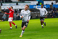 GOAL 5-1 Swansea City midfielder Oli Cooper (31) scores a goal during the FA Cup match between Swansea City and Nottingham Forest at the Liberty Stadium, Swansea, Wales on 23 January 2021.