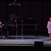 """Ethan Iverson and Yulia Van Doren perform """"Four Walls"""" by John Cage at Libbey Bowl on June 7, 2013 in Ojai, California."""