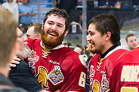 REGINA, SK - MAY 27:  The Acadie-Bathurst Titan celebrate the win against the Regina Pats at Brandt Centre - Evraz Place on May 27, 2018 in Regina, Canada. (Photo by Marissa Baecker/CHLImages)