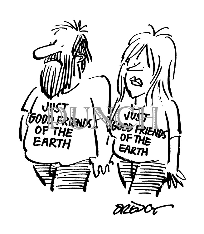 """(couple wearing T-shirts with slogan: """"Just Good Friends of the Earth"""")"""