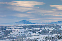 Fresh snow cloaks the plains near the Bear Paw Mountains of Montana USA