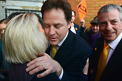 © Licensed to London News Pictures. 27/02/2013. Eastleigh, UK. Leader of the Liberal Democrats and Deputy Prime minister Nick Clegg (left) and Liberal Democrat Parliamentary Candidate for Eastleigh, Mike Thornton are greeted at the Liberal Democrat campaign headquarters in Eastleigh today 27th February 2013. Polling takes place across the borough tomorrow.  Photo credit : Stephen Simpson/LNP