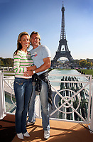 Photo: Paul Thomas/Sportsbeat Images.<br />South Africa Reception at Rugby Town. 21/10/2007.<br /><br />South African fullback Percy Montgomery poses in front of the Effiel Tower with his wife.