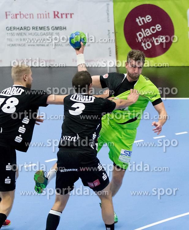 12.11.2016, BSFZ Suedstadt, Maria Enzersdorf, AUT, HLA, SG INSIGNIS Handball WESTWIEN vs Sparkasse Schwaz HANDBALL TIROL, Grunddurchgang, 12. Runde, im Bild Anton Prakapenia (Sparkasse Schwaz HANDBALL TIROL), Thomas Kandolf (Sparkasse Schwaz HANDBALL TIROL), Simon Pratschner (WestWien) // during Handball League Austria, 12 th round match between SG INSIGNIS Handball WESTWIEN and Sparkasse Schwaz HANDBALL TIROL at the BSFZ Suedstadt, Maria Enzersdorf, Austria on 2016/11/12, EXPA Pictures © 2016, PhotoCredit: EXPA/ Sebastian Pucher