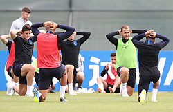 England's Harry Kane (2nd right) during the training session at the Spartak Zelenogorsk Stadium, Repino.