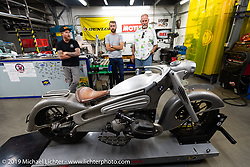 Roland, Sean Lichter and Keith Ball check out the Concept 7 BMW at Roland Sands Design (RSD) retail and office location, Los Alamitos, CA. Monday June 25, 2018. Photography ©2018 Michael Lichter.