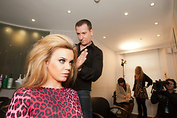 """Maria gets her hair done by John Gillespie..Filming of """"Ma Way"""", Maria Fowler's guide to Perth..© Michael Schofield."""