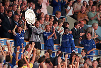Dennis Wise and Ed De Goey lift the Charity Shield for Chelsea. Chelsea v Manchester United. FA Charity Shield. Wembley 13/8/00. Credit: Colorsport.
