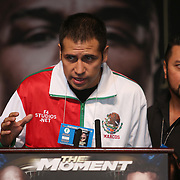 Boxer Marco Antonio Periban speaks during the undercard final press conference for the Mayweather & Maidana boxing match at the Hollywood Theater, inside the MGM Grand hotel on Thursday, May 1, 2014 in Las Vegas, Nevada.  (AP Photo/Alex Menendez)