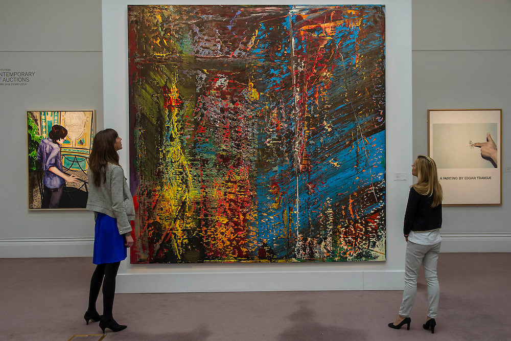 """Sotheby's London Exhibition of Sale Highlights from the Forthcoming Major New York Auctions of Contemporary and Impressionist and Modern Art, including exceptional Diamonds from Geneva. The auctions will include: $25-35 million masterpiece by Gerhard Richter  (pictured) ; Major works by Matisse and Léger never before offered at auction; a Claude Monet - Le Pont japonais $12-18m ; a Giacometti sculpture; The """"Graff Vivid Yellow""""  -  At 100.09 carats, one of the rarest yellow diamonds of its size (est. $15-25 million); The Victory Diamond - A 31.34-carat diamond named to commemorate the Allied Victory in World War II ($5-8 million); and one of the world's largest known round brilliant-cut diamonds weighing 103.46 carats (est. $3.5-5 million). They will take place in New York and Geneva 11-15 April 2014. Sotheby's, New Bond St, London, UK."""