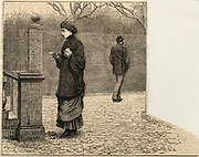 'Lady looking at the postmark on the letter the postman in the background has just handed to her. Engraving, London, 1881.'