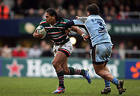 Photo: Rich Eaton.<br /> <br /> Leicester Tigers v Cardiff Blues. Heineken Cup. 13/01/2007. Alesana Tuilagi left of Leicester gets past Cardiffs Gary Powell