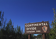 Continental Divide Sign, Wyoming with blue sky