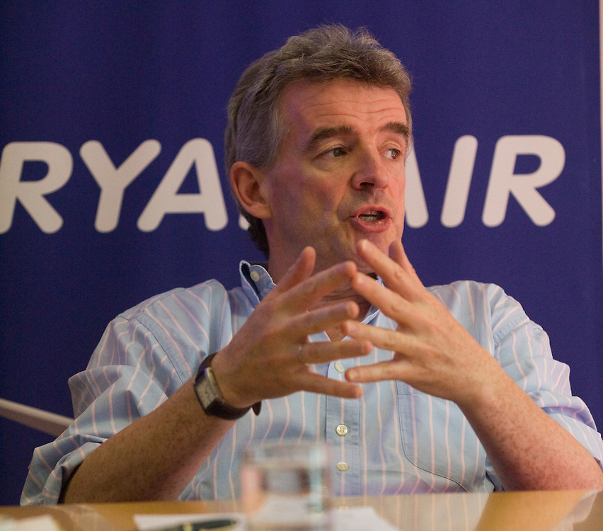 .LONDON, ENGLAND - JUNE 23: Michael O'Leary, Chief Executive Officer of the Irish airline Ryanair, sets out the airline's UK plans during a press conference at the London Chamber of Commerce on June 23, 2009 in London, England. Mr O'Leary declared that the Irish airline would suspend all plans for expansion at its UK sites in protest against airport charges and the government's air travel tax...***Standard Licence  Fee's Apply To All Image Use***.Marco Secchi /Xianpix. tel +44 (0) 845 050 6211. e-mail ms@msecchi.com or sales@xianpix.com.www.marcosecchi.com