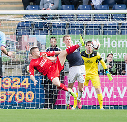 Raith Rovers John Baird and Falkirk's Stephen Kingsley.<br /> Falkirk 2 v 1 Raith Rovers, Scottish Championship game played today at The Falkirk Stadium.<br /> © Michael Schofield.