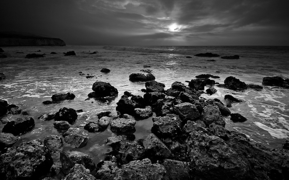 Low tide rock pools at Freshwater Bay on the isle of wight