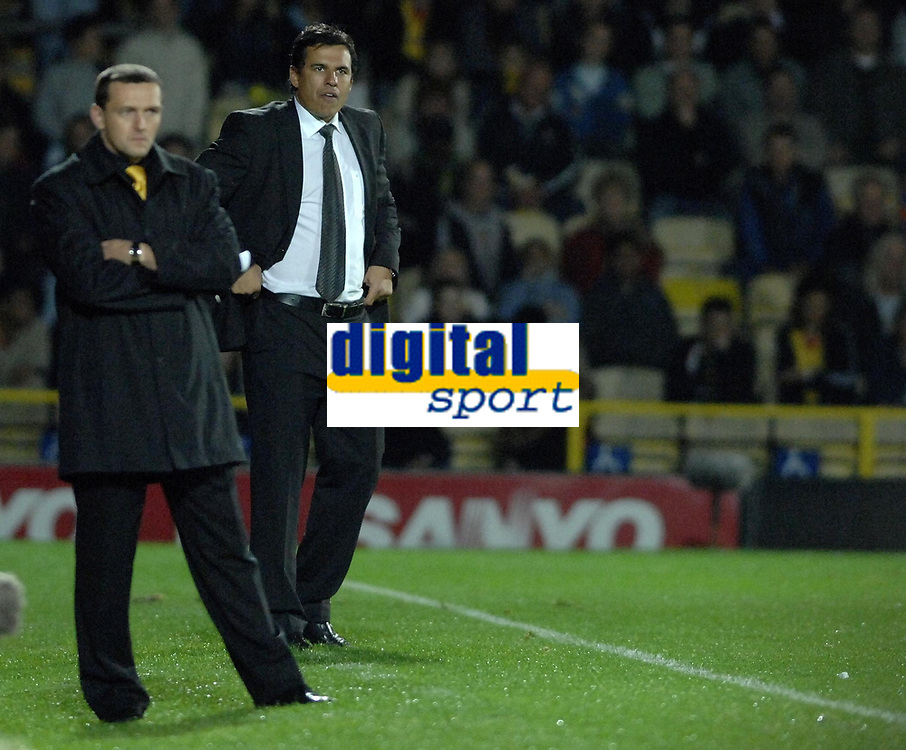 Photo: Richard Lane.<br />Watford v Fulham. The Barclays Premiership. 02/10/2006. <br />Fulham manager, Chris Coleman (rt) looks on as his team make a dramatic comeback.