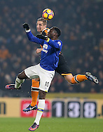 Michael Dawson of Hull City tussles with Romelu Lukaku of Everton during the English Premier League match at the KCOM Stadium, Kingston Upon Hull. Picture date: December 30th, 2016. Pic Simon Bellis/Sportimage