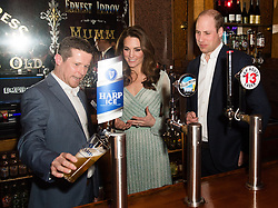 February 27, 2019 - Belfast, United Kingdom - Image licensed to i-Images Picture Agency. 27/02/2019. Belfast , Northern Ireland, United Kingdom. The Duke and Duchess of Cambridge  at the Belfast Empire Music Hall where they pulled pints of beer on the first day of their two day trip to Northern Ireland. Pic: i-Images/ Pool (Credit Image: © i-Images via ZUMA Press)