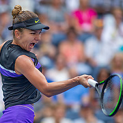 2019 US Open Tennis Tournament- Day Two. Simona Halep of Romania in action against Nicole Gibbs of the United States in the Women's Singles Round One match on Louis Armstrong Stadium at the 2019 US Open Tennis Tournament at the USTA Billie Jean King National Tennis Center on August 27th, 2019 in Flushing, Queens, New York City.  (Photo by Tim Clayton/Corbis via Getty Images)