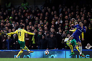 Josh Murphy of Norwich City (L) takes a shot at goal. The Emirates FA Cup, 3rd round replay match, Chelsea v Norwich City at Stamford Bridge in London on Wednesday 17th January 2018.<br /> pic by Steffan Bowen, Andrew Orchard sports photography.