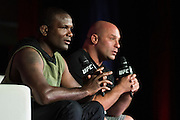 LAS VEGAS, NV - JULY 9:  Din Thomas speaks during the UFC Fan Expo at the Las Vegas Convention Center on July 9, 2016 in Las Vegas, Nevada. (Photo by Cooper Neill/Zuffa LLC/Zuffa LLC via Getty Images) *** Local Caption *** Din Thomas