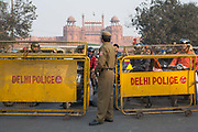 Security at the Red Fort on 25th December 2008 in Delhi, India. The Red Fort was the residence of the Mughal emperor for nearly 200 years, until 1857. It now houses a number of museums.