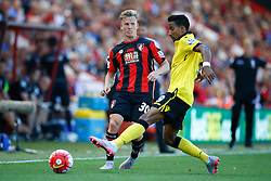 Matt Ritchie of AFC Bournemouth passes under pressure from Scott Sinclair of Aston Villa - Mandatory by-line: Jason Brown/JMP - Mobile 07966 386802 08/08/2015 - FOOTBALL - Bournemouth, Vitality Stadium - AFC Bournemouth v Aston Villa - Barclays Premier League - Season opener