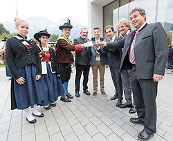 02.10.2015, Nussdorf Gebannt, AUT, Empfang für UCI Juniorenweltmeister Felix Gall, im Bild LA Hermann Kuenz, UCI Juniorenweltmeister Felix Gall, Franz Theurl (Obmann TVB Osttirol), LA Hermann Kuenz, UCI Juniorenweltmeister Felix Gall, Franz Theurl (Obmann TVB Osttirol), ÖRV Präsident Otto Flum, BGM Ing. Andreas Pfurner // during the official reception for the UCI Junior World Champion Felix Gall in his home town. Nussdorf Decant, Austria on 2015/10/02. EXPA Pictures © 2015, PhotoCredit: EXPA/ Johann Groder