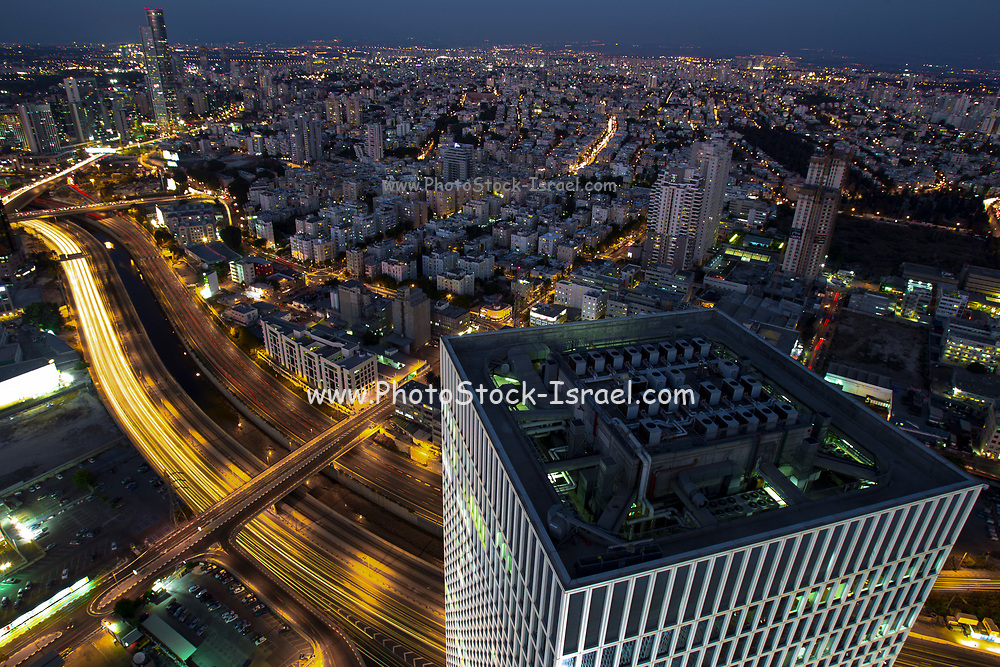 Aerial view of Tel Aviv, Israel Looking North. Azrieli tower in the foreground
