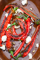 Jimmy Nardello frying peppers with goat's cheese