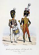 Drummer and Drum Major of the King's Footguards, 1822-1830.  'Histoire de la maison militaire du Roi de 1814 a 1830' by Eugene Titeux, Paris, 1890.