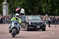 © Licensed to London News Pictures. 03/06/2019. London, UK.  Outrider clears the Mall ahead of of the President of the United States of America's cavalcade from Buckingham Palace to Westminster Abbey on the the first day of the President's state visit to the UK.  Photo credit: Guilhem Baker/LNP