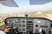 Cessna Skyhawk taxing to takeoff. Photographed from within the cockpit