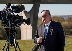 Alex Salmond Launches Alba Party Candidates, 21 April 2021<br /> <br /> The new ALBA Party launched its Central Scotland candidates at an event at the Falkirk Wheel today.<br /> <br /> Pictured: Alex Salmond, Alba Party Leader and former First Minister of Scotland being interviewed by the press <br /> <br /> Alex Todd | Edinburgh Elite Media