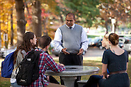 October 17, 2013 - Business professor Rodney Oudan leads a mock lecture on the campus of Worcester State University for marketing collateral photographs. (MATT WRIGHT)
