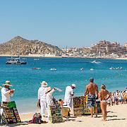 Arts and crafts market by the beach. Medano Beach. Cabo San Lucas, BCS. Mexico.
