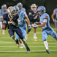 The King's Academy vs Hillsdale in a Peninsula-Ocean Football Game at The King's Academy, Sunnyvale CA on 9/28/18. (Photograph by Bill Gerth)(TKA 47 Hillsdale 0)