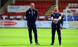 Cheltenham Town manager Michael Duff and Wade Elliot of Cheltenham Town- Mandatory by-line: Nizaam Jones/JMP - 12/09/2020 - FOOTBALL - Jonny-Rocks Stadium - Cheltenham, England - Cheltenham Town v Morecambe - Sky Bet League Two