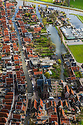 Nederland, Noord-Holland, Graft-De Rijp, 16-04-2012; De Rijp: Rechtestraat  met Grote Kerk, Tuingracht. Beemsterringvaart boven in beeld..View on the old town of De Rijp with church and ring canal (top photo).luchtfoto (toeslag), aerial photo (additional fee required).foto/photo Siebe Swart