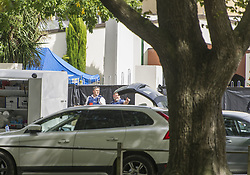 March 16, 2019 - Christchurch, Canterbury, New Zealand - Police outside the Al Noor mosque, where 41 people were killed by a gunman. Police cordoned off a wide swath of the area as they continued their investigation. (Credit Image: © PJ Heller/ZUMA Wire)